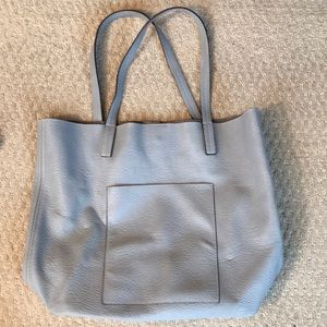 Street Level Faux Leather Pocket Tote - light grey